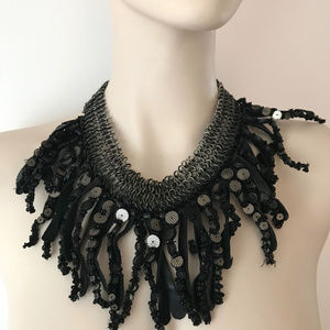 Anthropologie Leather Necklace Edgy Beaded Bib Col